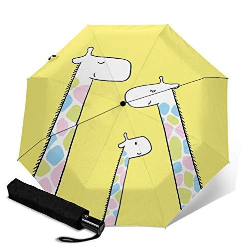 Paraguas premium a prueba de viento, jirafa de viaje familiar plegable automático triple paraguas compacto ligero sol y lluvia paraguas