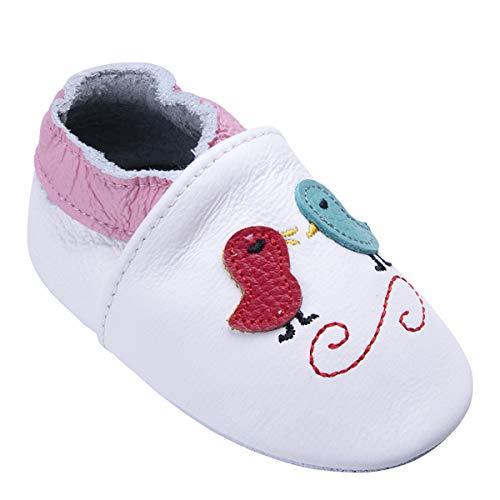 Weiche Leder Babyschuhe mit Mokassins Wildledersohlen für Kleinkinder Kleinkinder Jungen Mädchen Prewalker Schuhe (12-18 Monate, Vogel)