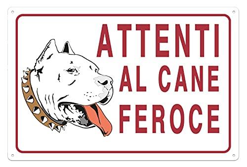 Nitek Cartello attenti al Cane feroce in PVC 30cm x 20cm– Cartello Autoadesivo| Sign, Schild | Impermeabili Lavabili, Staccionate, cancelli