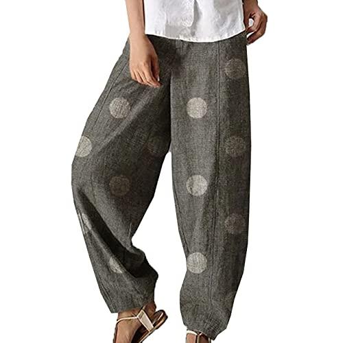 Nuevos Pantalones De Mujer De Lunares De AlgodóN Y Lino, Pantalones Holgados Informales De Pierna Ancha, Color SóLido