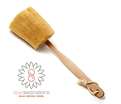 """The Utimate Loofah Back Brush with detachable handle by Spa Destinations""""Creating The Perfect Bath and Shower Experience"""" Best Quality! Best Value!"""