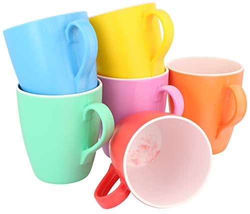 com-four® 6x [!!!B-Ware!!!] Trinkbecher mit Henkel - Kunststoff-Tasse aus Melamin - Multifunktionsbecher in verschiedenen Farben - bruchfest (06 Stück - Tasse)