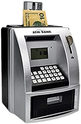 Smartoy ATM Savings Bank for Real Money, Electronic Piggy Bank for Boys for Girls, Talking Kids Money Safe Box, Gift for Ages 6+, Silver (BlackSilver) from Like Electronic Limited