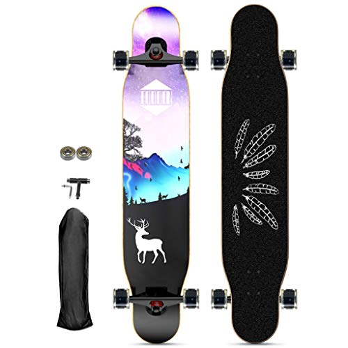 qwert Longboard Longboard Skateboard 117x 22.5 cm - 46Inch - ABEC 11Kugellagern - Pintail Komplettboard -Drop-Through Freeride Skaten Cruiser Boards