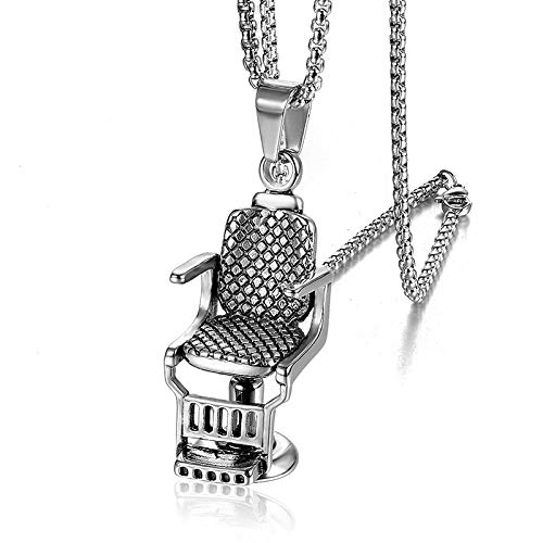 Anhänger Halskette Hip Hop Rock Titan Edelstahl Barbershop Sofa Stuhl Anhänger Halskette Für Männer Friseur Schmuck Gold Silber Silber