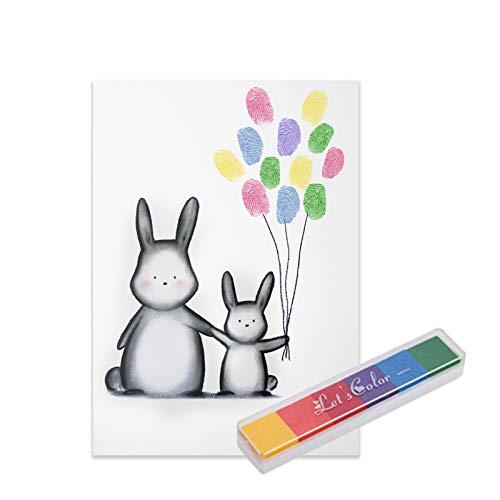 Hej Jojo Fingerabdruck Babyparty Set Abdruckset Abdruckbild'Hasenfamilie' DIN A4 inkl. Fingerfarbe...