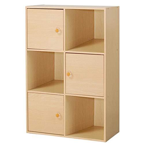 Estante para Libros Estantería 3-Tier 6 Cubo con 3 Puertas y 3 estantes Abierto Cube Estantería de Almacenamiento Librerías Bookshef Estante de Almacenamiento para Oficina (Color : A)