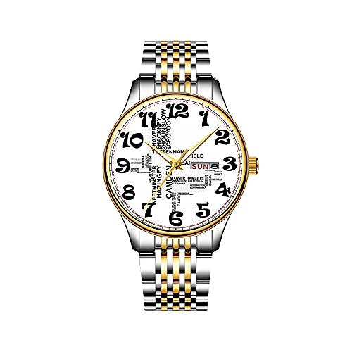 Reloj de Pulsera para Hombre con Mecanismo de Cuarzo japonés y Fecha, Correa de Acero Inoxidable Dorada, Reloj Lama Machu Picchu, Reloj Peru