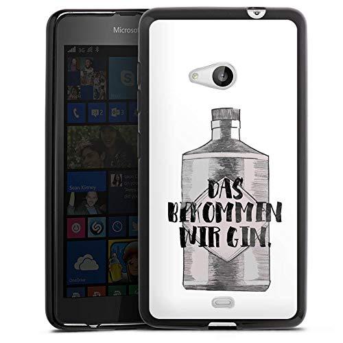 DeinDesign Silikon Hülle kompatibel mit Microsoft Lumia 535 Hülle schwarz Handyhülle Gin Statement Feiern