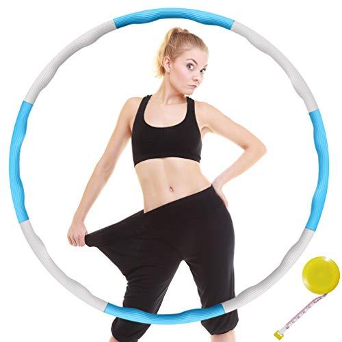 DUTISON Hula Hoop Fitness zur Gewichtsreduktion Weicher 8 Abschnitt Abnehmbares Design Eva-Schaum Gepolstert mit Mini Bandmaß (Weiß und Blau)
