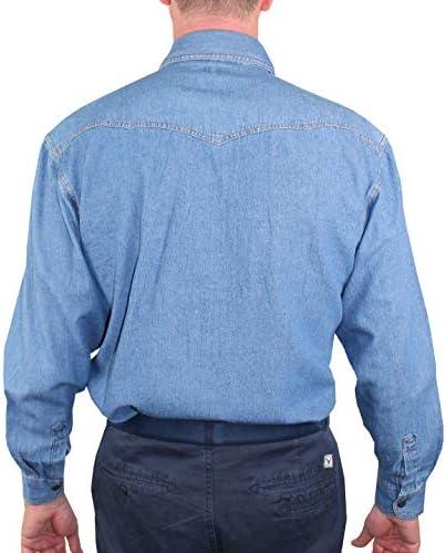 1st American Camisa de Mezclilla Hombre Dos Bolsillos - Blusa de Vaquero de Manga Larga 100% Algodon Stone Wash - Colore Azul Jeans