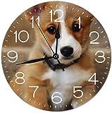 Mailine Reloj de Pared Cute Corgi Reloj de Pared Decorativo Silencioso sin tictac - Redondo Fácil de Leer Reloj Decorativo