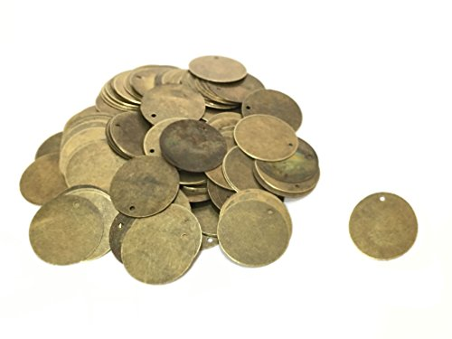 200 Antique Bronze Tone 13/16 Inch Metal Blanks Round Metal Stamping Blank and Charms 20mm Diameter