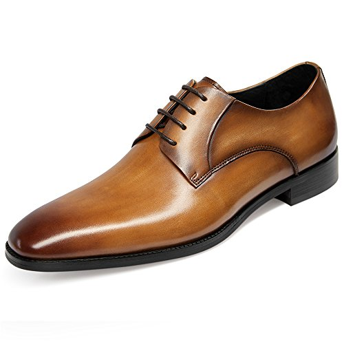 GIFENNSE Mens Leather Oxford Dress Shoes Formal Lace Up Modern Shoes 9.5US Brown