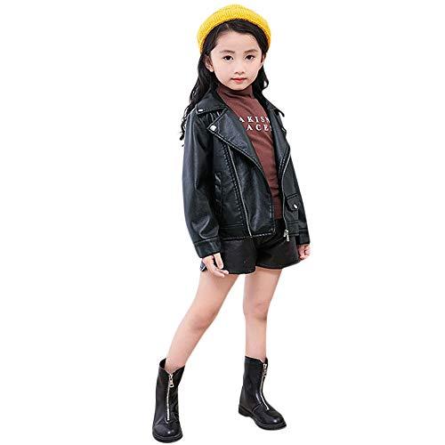 FeiliandaJJ Baby Kinder Mantel, Coat Jacken Herbst Winter Junge Mädchen Schwarz Pu Nähte Revers Lederjacke Strickjacke Kleidung Warm Outwear (130 (5-6 Jahre), Schwarz-81)