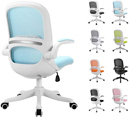 FENGLI Ergonomic Mesh Office Chair,Desk Chair Rolling Swivel Executive Chair with Lumbar Support and Flip-up Armrest,Adjustable Height Computer Chair 120deg; Recline (Color : White+Blue)