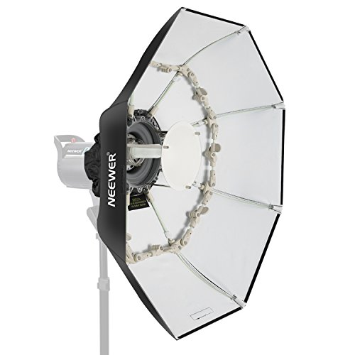 Neewer Beauty Dish Foldable Octagonal Softbox with Central Reflective Disc, Removable Front Diffuser Bowens Attachment for Monoluci Flash Portraits and Studio Photography