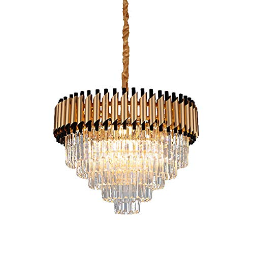 Cristal LED Lámparas De Araña,Oro Moderno Lujoso Lampara Colgante E14 Altura Ajustable Semi Flush Lámpara De Techo Para Sala De Estar Comedor-Negro y oro 60x43cm