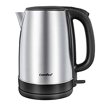 COMFEE  1.7L Stainless Steel Electric Tea Kettle BPA-Free Hot Water Boiler Cordless with LED Light Auto Shut-Off and Boil-Dry Protection 1500W Fast Boil