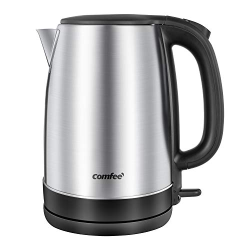 Comfee 1.7L Stainless Steel Electric Tea Kettle, BPA-Free Hot Water Boiler, Cordless with LED Light, Auto Shut-Off and Boil-Dry Protection, 1500W Fast Boil, 8.66*5.91*9.65inch