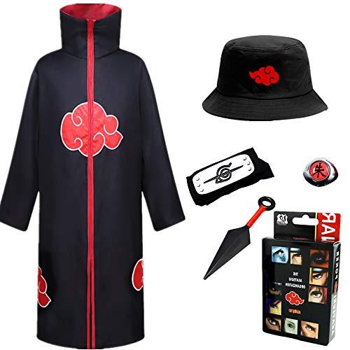 STRDK Naruto Akatsuki/Uchiha Itachi Cosplay Halloween Weihnachten Party Kostüm Naruto Akatsuki Umhang Mantel Akatsukikostüm Jacke Stirnband Ring für Herren Männer Kinder Erwachsene Ninja Zubehör