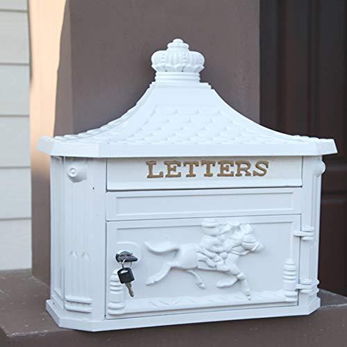 LSX mount brievenbussen postvak, Europese retro muur opknoping huis outdoor villa creatieve brievenbus met slot regen anti-diefstal brievenbus, geschikt voor brieven, dun tijdschrift, 41X16X46cm ^@ Kleur: wit