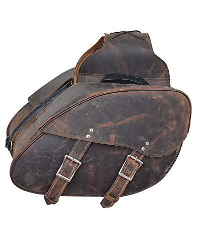 Motorcycle 2 Pc Large thowover Distressed Brown Real Leather Saddlebag Luggage