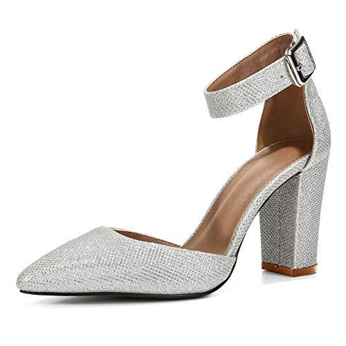 Damen Pumps mit Knöchelriemen, spitz zulaufender Zehenpartie, Chunky Block, High Heels, Kleid, (Silberfarben glitzernd), 43 EU