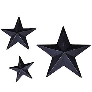 YL Crafts - Metal Stars Wall Decoration Mounted Wall Art 3pcs/set (Black)