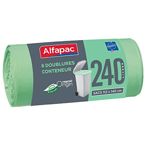 ALFAPAC - 6 sacs doublures poubelle roulante 240L - Sacs Poubelle Doublures de Container - Vegetal Origin - Sacs vert d'eau de dimensions 112 x 140 cm