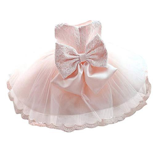 TTYAOVO Baby Mädchen Tüll Blume Prinzessin Hochzeitskleid Kleinkind Taufkleid 6-12 Monate Rosa 03