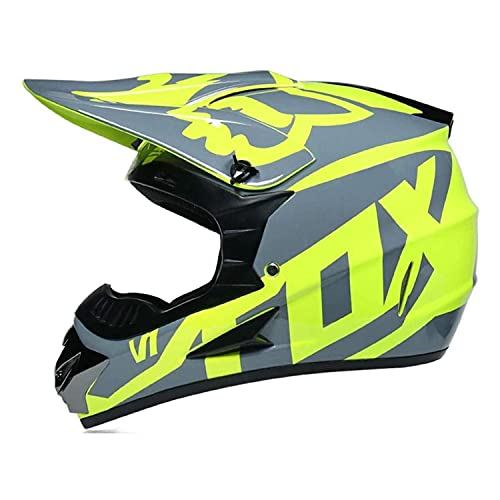 HYQW VIIPOO Casco De Motocicleta para Niños, Diseño De Casco Cruzado para Niños Y Casco De Descenso Fox Kids con Guantes/Gafas/Protector Facial (3 Piezas) -Amarillo,M