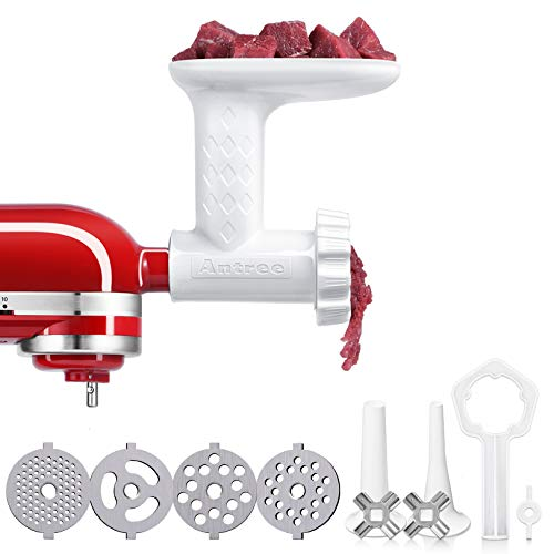 Antree Meat Grinder Attachment fits for KitchenAid Stand Mixer- Food Grinder -Meat Mincer with 4 Grind Plates, 2 Grind Blades, 2 Sausage Filler Tubes and 1 Cleaning Brush for KitchenAid Mixers …
