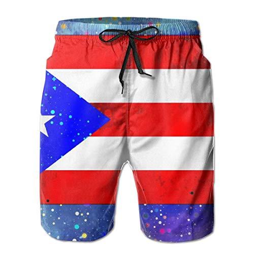 DLing Herren Badehose Puerto Rico Flag Sternenklare Flagge Strand Boardshorts Schnelltrocknend Sport Laufen Swim Boardshorts mit Taschen Mesh-Futter,M