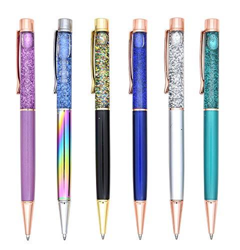Gullor 6 PCS Ballpoint Pens Cute Fancy Metal Pen Bling Dynamic Liquid Pieces for Office Supplies Black Ink(6PCS), Multicolor C