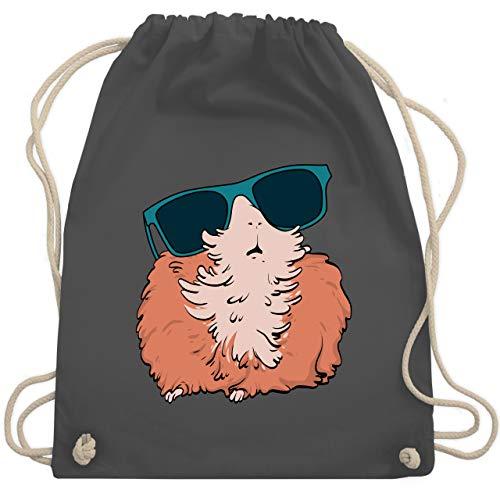 Shirtracer Sonstige Tiere - Meerschweinchen mit Sonnenbrille - Unisize - Dunkelgrau - Tierliebe - WM110 - Turnbeutel und Stoffbeutel aus Baumwolle