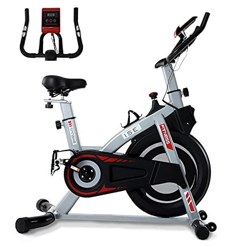 ISE Bicicleta Estática de Interior con Resistencia Ajustable, Peso de Inercia de 8KG con Sensor de Pulso / Pantalla LCD / Soporte, Sillín Ajustable, Silenciosa, SY-7020