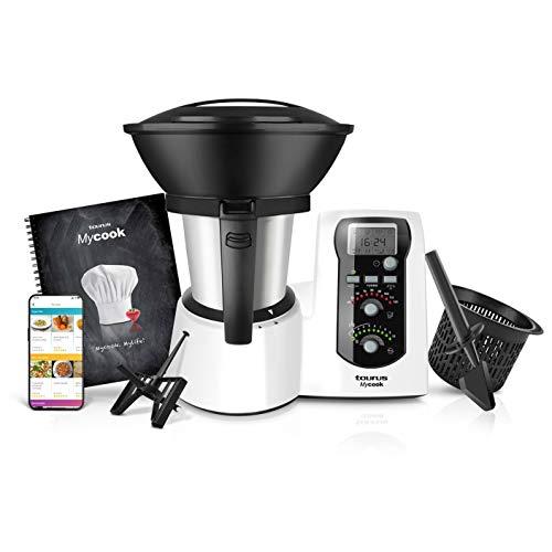 Taurus Mycook - Robot de Cocina, app mycook con miles de recetas gratuitas, Multifunción, 1600W, 2L, Inducción hasta 120º, incluye recetario, balanza integrada, Vaporera, Sofrie, Amasa