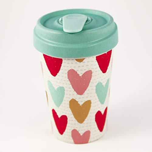 """BambooCup """"Happy Hearts weiß mit bunten und goldfarbenen Herzen Coffee-to-Go-Becher aus 100% Bambus 400ml"""