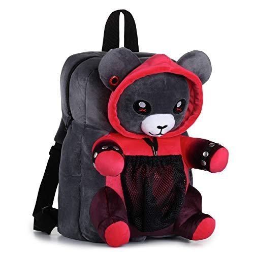 corimori – Ember der Punk Bär, großer flauschiger Plüsch-Rucksack für Kinder und Erwachsene, rot schwarz