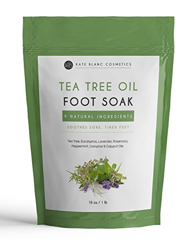 Tea Tree Oil Foot Soak With Epsom Salt by Kate Blanc. Relaxing and Therapeutic. Smells Wonderful. Soothes Tired, Achy Feet. Soften Rough Calluses. Remove Feet Odor. Resealable Big Bag (16 oz)