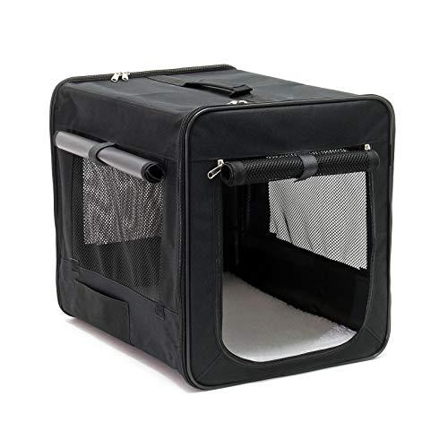 Wiltec Faltbare Transportbox für Haustiere, Größe S (42x36x41 cm), mit herausnehmbarem Einlagekissen