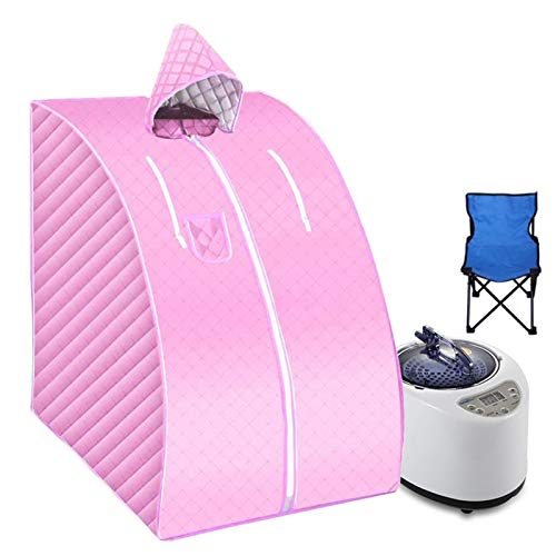 Yyl Tragbare Sauna Mit Fold Stuhl Startseite Dampfsauna Bad 2L Dampfbad Sauna Box Mühelosigkeit Insomnia Edelstahl-Rohr-Support (Color : Pink)
