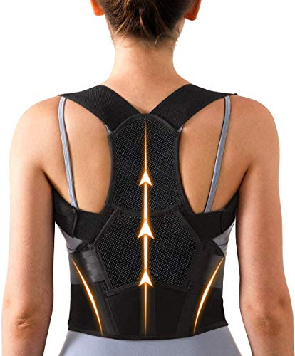 Adjustable Back Posture Corrector for Women & Men with Spine Back Support, Breathable Lower and Upper Back Brace for Posture Improves and Pain Relief from Neck, Back, Shoulders (Medium(24-33Inch))