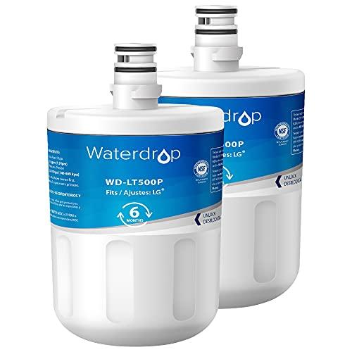 Waterdrop 2X ADQ72910902 Filtro de Agua para Frigorífico, Compatible con LG LT500P, WSL-1, WF-290, 5231JA2002A, ADQ72910902, ADQ72910901, 5231JA2002B, Kenmore GEN11042FR-08, GEN11042F-08, 46-9