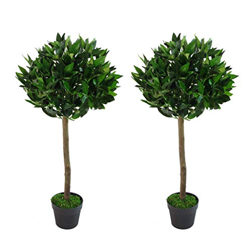 Leaf Pair of Plain Stem Artificial Topiary Bay Laurel Ball Trees, Green, 90cm (3ft)