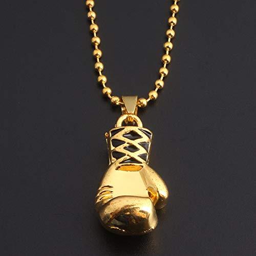 XLHJK Ketten Anhänger Halsketten for Jungen Silber Gold Mini Boxhandschuh Halsketten Fitness Boxen Schmuck Unisex Cool Anhänger Halskette Männer Geschenk