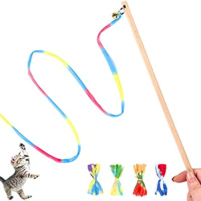 Interactive Cat Toys Rainbow Cat String Toy with Bell, Replaceable Wood Cat Wand with 5PCS Colorful Fabric Ribbon Refills, Safe Cat Catcher Teaser Stick Toy for Kittens Training Pets Exerciser