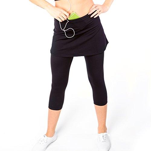 Sport-it Damen Capri-Rock, Active Skapri mit Taschen, Laufrock Leggings, Athletic Skort -  Schwarz -  Klein