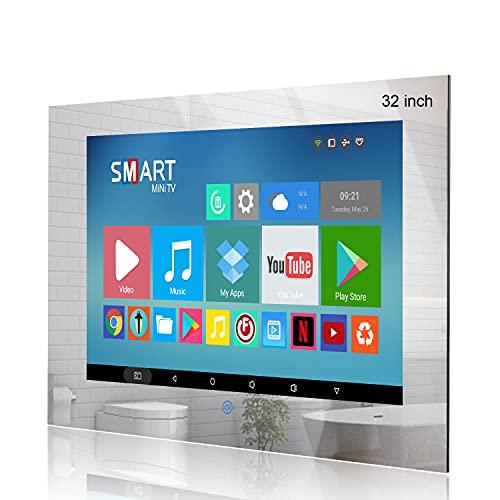 Haocrown Televisión de baño impermeable de 32 pulgadas, TV LED Full HD con Smart Android 10.0, DVB y satélite incorporados, Wi-Fi Bluetooth HDMI USB, altavoces impermeables (marco de espejo)